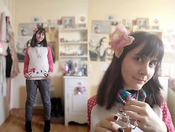 Lulu Longstocking - Second Hand Hello Kitty Sweater, Second Hand Hello Kitty Jewelry, Vintage Bow Hairclip, Second Hand Pearls - Kawaii