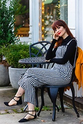 Bleu Avenue Ofbleuavenue - Shein Black And White Gingham Checkered Overalls, Shein Black Mock Turtleneck - Overalls Overall