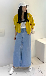 Miamiyu K - Miamasvin Snap Button Long Denim Skirt - Denim Charisma