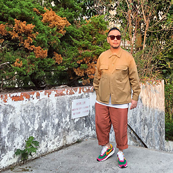 Mannix Lo - Gu Shirt Jacket, Gu Loose Fit Cropped Pants, Sacai X Nike Ldv Waffle Sneakers - Find time for the things that make u feel happy to be alive