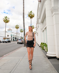 Katie Van Daalen Wetters - Forever 21 Nude Top, Shoedazzle Lace Up Sandals - Birthday Shopping on Rodeo Drive