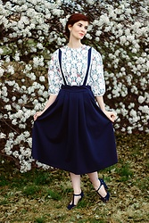 Bleu Avenue Ofbleuavenue - Shein Rabbit Print Top, Shein Navy Blue Pinafore Skirt - Following White Rabbits