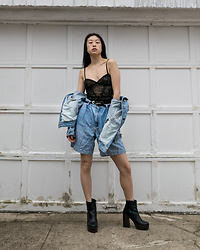 Gi Shieh - Journelle Black Teddy, Thrifted Denim Jacket, Raided Mom's Closet Denim Bermuda Shorts, Aldo Black Platform Boots - Innerwear as Outerwear?!