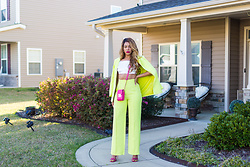 """Slim"" Shay D - Missguided Lime Boyfriend Blazer, Missguided Lime Pants, Pretty Little Thing 90's Style Bralette - Werk From Home"