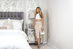 """Slim"" Shay D - Missguided Crop Top, Missguided Faux Croc Skirt - Light Work: Neutrals"