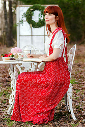 Bleu Avenue Ofbleuavenue - Shein Hearts Pinafore, Forever 21 Linen Blend Princess Top - Afternoon Tea