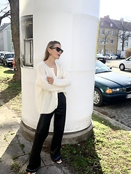 Anna Borisovna - Sézane Cardigan, Zara Pants, Céline Sunglasses - The White Cardigan