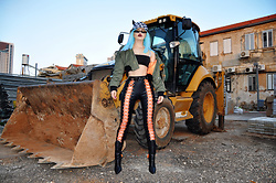 Stav Monskey - Jeffrey Campbell Shoes Boots, Dolls Kill Lace Up Leggings, Unif Bomber - Miss construction