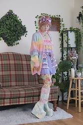 Lovely Blasphemy - Wc Pastel Rainbow Cardigan, 6%Dokidoki フリルベルト/Pastel Dream, 6%Dokidoki Belt, 6%Dokidoki 総柄80dタイツ/Colorful Rebellion Original, Esqape Pink Heart Goggles, Current Mood Deep Dive Platform Boots - Everything passes, nothing is for keeps