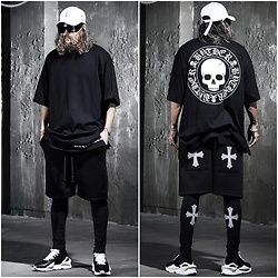 INWON LEE - Byther Shorts, Byther Skull Logo Shirt, Byther Bottom Tights - Reflective cross shorts