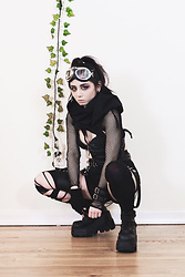 Lovely Blasphemy - Crisiswear Clothing Rogue Cowl Mkii, Killstar Bite Me Fishnet Bolero [B], Killstar Savina Suspender Belt, Pawstar Cuff, Demonia Shaker 52 Black Wedge Platform Boots - What I thought I would look like in the post-apocalypse