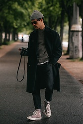Kevin Elezaj - Converse Sneakers, Topman Pants, Uniqlo Knit, Topman Coat, Burberry Glasses, Asos Beanie - Easy-going
