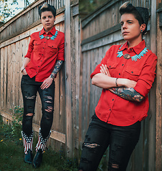 Carolyn W - Sundry Stars, American Eagle Outfitters Ripped, Vintage Americana - Star of the Back Yard
