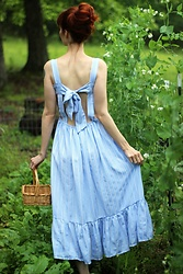 Bleu Avenue Ofbleuavenue - Chic Wish Summery Sense Blue Stripe Dress - In the Garden