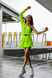 Jenny Mehlmann - Shein Neon Yellow Dress, Fila Sneakers - IG: @thehungarianbrunette // NEON EDIT #7