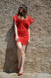 Elisabeth Green - Dresslily Dress - Red Lace Dress