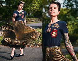 Carolyn W - Gold & Navy, Ralph Lauren Pleated, Tory Burch Beetles In Velvet - Fancy Friday