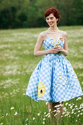 Bleu Avenue Ofbleuavenue - Unique Vintage 1950s Style Blue And White Gingham Bumble Bee Darcy Swing Dress - Vintage Gingham Swing Dress