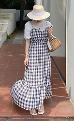 Miamiyu K - Miamasvin Drawstring Waist Check Maxi Dress | $40.90 - Country Breeze
