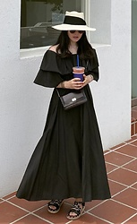 Miamiyu K - Miamasvin Tie Waist Off Shoulder Long Dress | $82.20 - Neutral Elegance