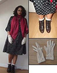 Selina M - Swapped Polka Dot Dress, A Present Pink Scarf, Monki Polka Dot Sheer Socks, Dune Burgundy Brogues, Vintage Gloves - Multi-use style, protection and maximum cuteness