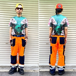 @KiD - Flying Lotus Tee, Vintage Fireman Pants, Typhoon Mart Sunglasses, Buffalo Platform - JapaneseTrash580