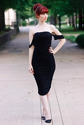 Bleu Avenue Ofbleuavenue - Femmeluxe Black Bardot Cowl Neck Ruched Midi Dress Malia - Little Black Bardot Dress
