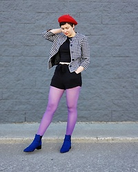 Jules . - Urban Planet Red Beret, Vintage Houndstooth Jacket, Cobalt Blue Boots - Colour block