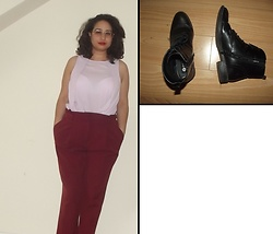 Selina M - Vinted Lilac Top, New Look Burgundy Trousers - You and me in our private storm