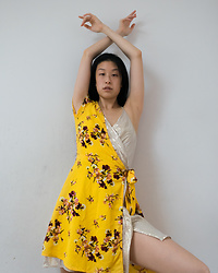 Gi Shieh - Old Fast Fashion Yellow Floral Wrap Dress, Old Fast Fashion Shimmery Beige Dress - SUMMERTIME CHILLLLLLLL