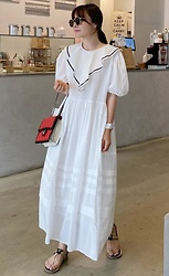 Miamiyu K - Miamasvin Frilled Collar Puff Sleeve Long Dress | $98.90 - Minimalist Cinderella