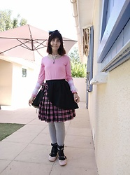 Lulu Longstocking - Lolita Skirt, Ballerinas, Frilly Cuffs, Headbow, Second Hand Pink Top - Casual lolita
