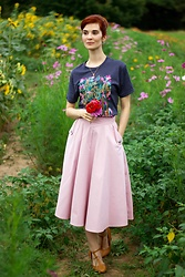 Bleu Avenue Ofbleuavenue - Out Of Print Puffin In Bloom Anne Green Gables Tee, Chic Wish Live For Now Skirt - Puffin in Bloom Tees