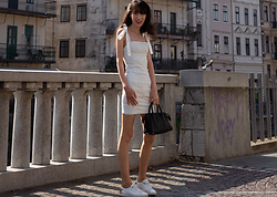 Veronika Lipar - Revolve White Mini Dress With Ties, Diesel White Leather Sneakers, Small Black Bag, White Pearl Hairpin - Minimal Summer Day Date Outfit
