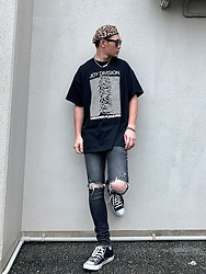 ★masaki★ - Joy Division Tee, Neuwdenim Jeans, Vitaly Necklace - UNKNOWN PLEASURES