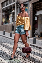 Eliana B - Pinko Silk Top, Guess Denim Shorts, Dkny Bag, Mime Et Moi Sandals, Ray Ban Sunglasses - Mellow Yellow