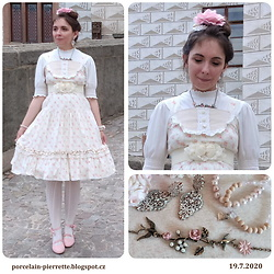 Pierrette - Clockhouse White Blouse, Handmade Dress - Sweet summer dream