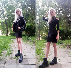 Grim Alex - Zoot Black Leather Jacket, Sinsay Black Bodycon Dress, Deichmann Black Platform Shoes, Aliexpress Fake Amethyst Necklace, Alixpress Moon Earrings, Aliexpress Various Rings - Black No.1