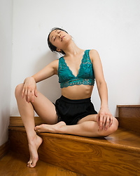 Gi Shieh - Old Fast Fashion Lace Teal Bralette, Old Fast Fashion Black Lace Shorts, Mejuri Pearl Earrings - Say it with me: Bralettes are tops