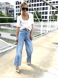 Anna Borisovna - Who What Wear Blouse, Zara Pants, Zara Shoes, Bottega Veneta Sunglasses - White & Blue