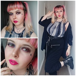 April Willis - Tie Dye Spiked Shoulder Vest, Shein Pentagram Earrings, Shein Chain Trousers, Dr. Martens Silver Crackle Boots, Baggy Black Jacket, Maybelline Bright Pink Lipstick, Barry M Rebel Lash Pink Mascara - A dash of crazy