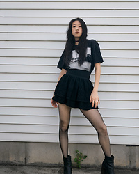 Gi Shieh - Shirt From College Black Graphic Tee, Raided Mom's Closet Polka Dot Cloth Choker, Old Fast Fashion Black Lace Skirt, Old Fast Fashion Fishnet Tights, Old Fast Fashion Black Platform Boots - Feeling at-home in this #GrungeAesthetic