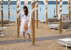 Veronika Lipar - Jw Anderson White Summer Shirtdress With Sleeves, Nannacay Basket Bag, Stuart Weitzman Sandals - 5* Beach Hotel Brunch Outfit