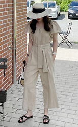 Miamiyu K - Miamasvin Zip Front Belted Jumpsuit - Simplified Outlook