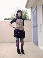 Lulu Longstocking - Second Hand Tank Top, Second Hand Goth Skirt, Galaxy Leggings - Cyber