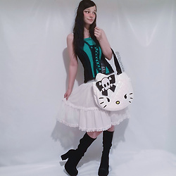 Melissa @lilbunniex - Trippnyc Teal And Black Lace Corset, Loungefly Hello Kitty Gothic Tote, Vintage Dress, Black Boots - Feminine Mall Goth