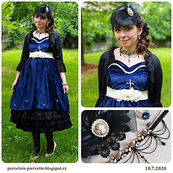 Pierrette - Victorian Catherine Minihat, Classy Lady Black Bolero, Handmade Blue Dress, Porcelain Doll Black Underskirt, Monica Otmili Blue Ring - Night sky