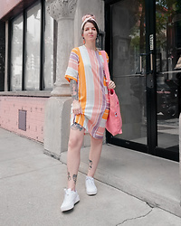 Jessie Barber - Big Bud Press Everyday Tote Bag, Native Youth Moriz Dress, Ettika Pink Resin Earrings, Puma Carina Sneaker, Vintage Hair Scarf - Pastel Stripes