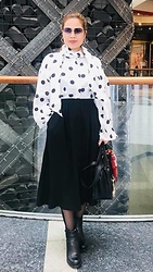 Janeth Javier - Ray Ban Sunglasses, H&M Blouse, Guess Bag - Polka dot