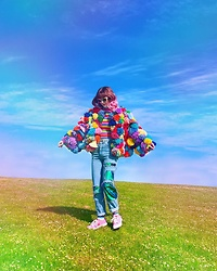 Kate Hannah - P'junk Pom Jacket (Designed/Made By Me) - A Colourful Flower
